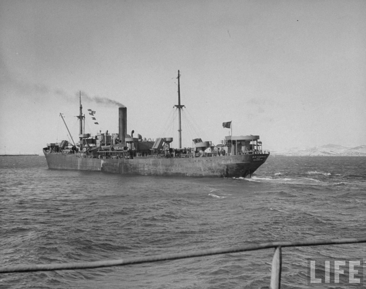 Russian ship steaming into port Manchuria 1947.jpg