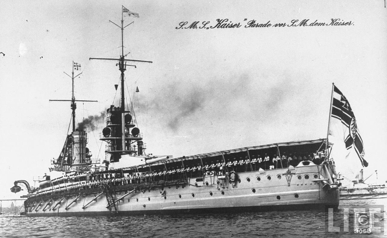 German battleship Kaiser sailing during parade for Kaiser Wilhelm II.jpg