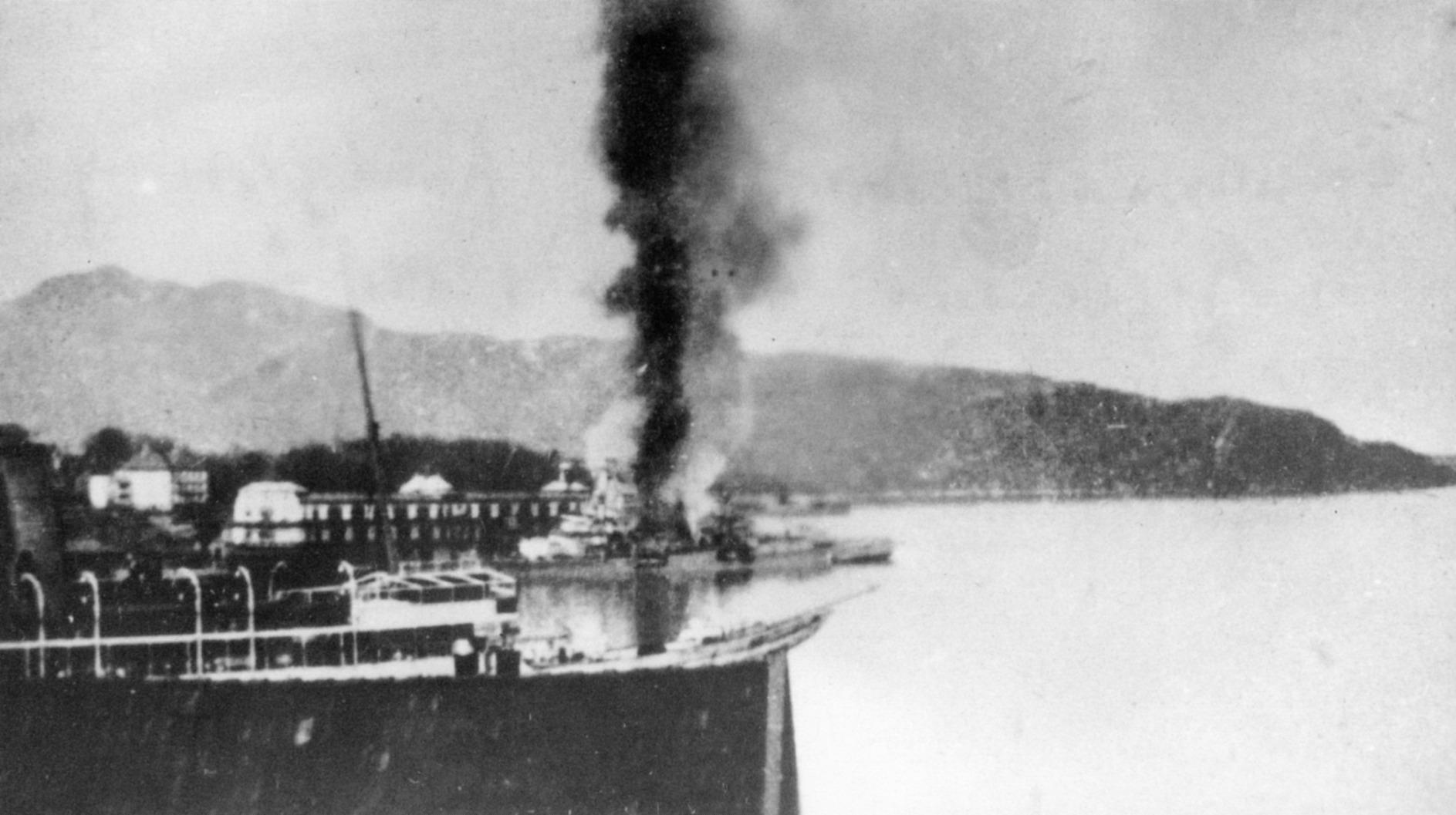 Konigsberg burning 10.4.40 view from sea.JPG