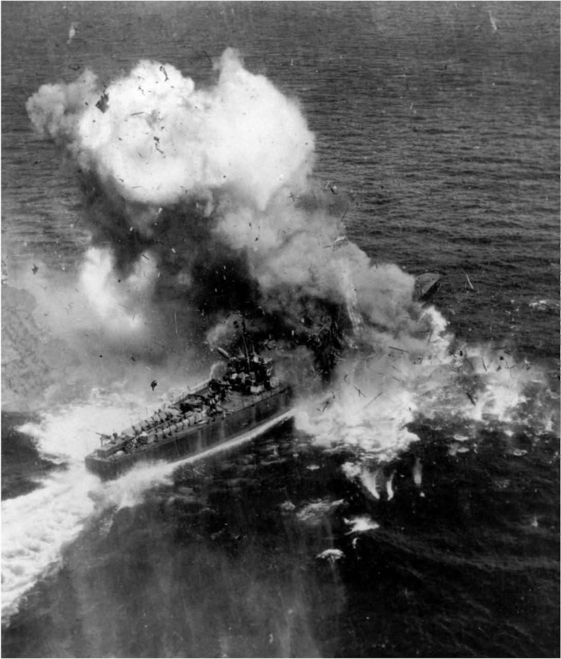 B-25 direct hit on Japanese Sub Hunter CH-39 on 10th November 1944.jpg