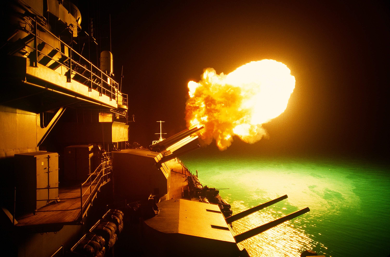 A Mark 7 16-inch_50_caliber_gun_is_fired_аboard_the_Missouri.jpg
